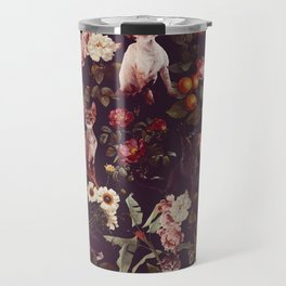 Cat and Floral Pattern Travel Mug