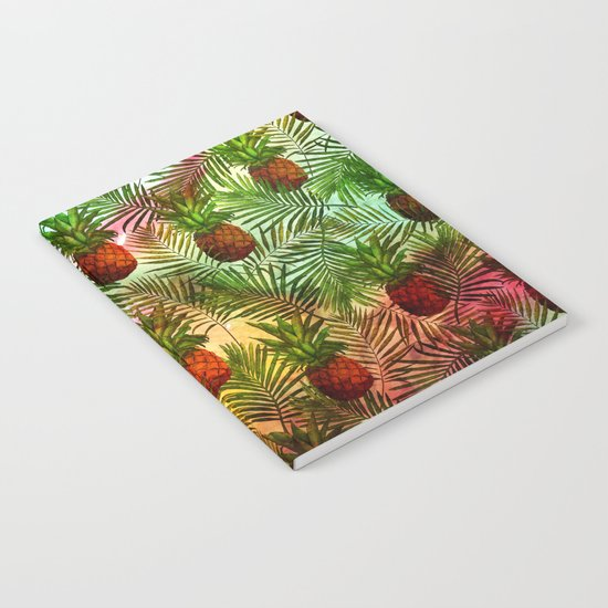 Pineapples - Tropical fruit watercolor illustration pattern Notebook