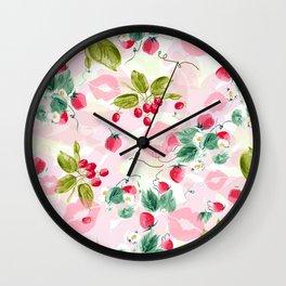 strawberries w kisses Wall Clock