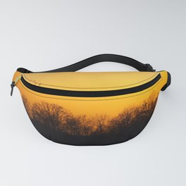 Sunset and cranes natural landscape from France Fanny Pack