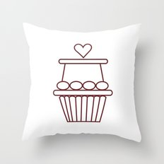 Cupcake Heart Throw Pillow