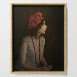 Girl with red necklace Serving Tray