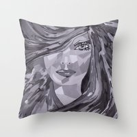 plain Throw Pillows featuring Plain Jane by Sartoris ART