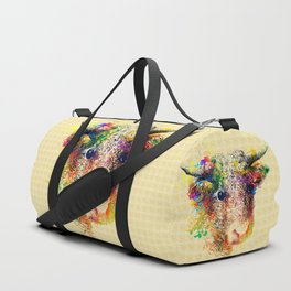 Hand drawn bull, cow, bison, buffalo head face portrait with horns. Colorful cattle painting sketch Duffle Bag