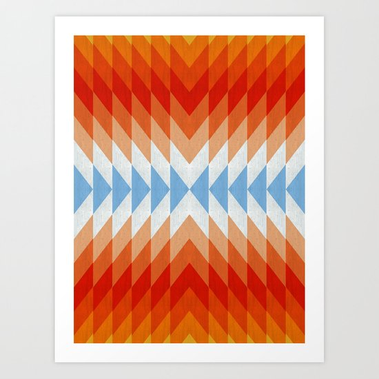 Minimalist orange and red Art Print