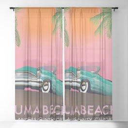 Zuma Beach Los Angeles County California Sheer Curtain