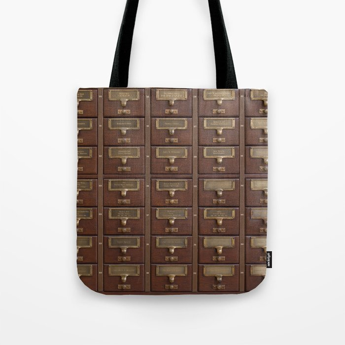 Vintage Library Card Catalog Drawers Tote Bag