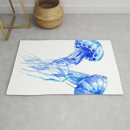 JellyFish, Blue Aquatic Artwork Rug