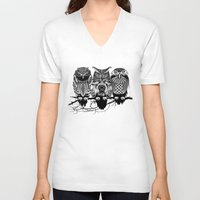 feathers V-neck T-shirts featuring Owls of the Nile by Rachel Caldwell