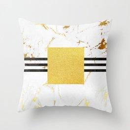 Luxurious golden marble with black stripes Throw Pillow