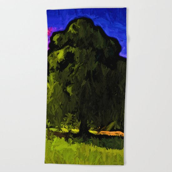 Green Tree with a Pink and Blue Sky Beach Towel