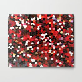 Mosaic tiles in Red and Black Metal Print