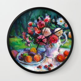 Fruits & Rose Flowers Wall Clock