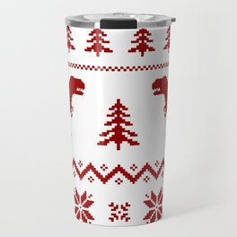 Christmas ugly sweater pattern dinosaur Travel Mug