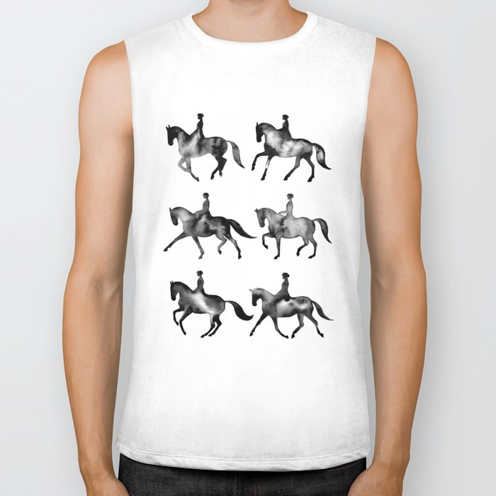 Dressage Horse Silhouettes Biker Tank