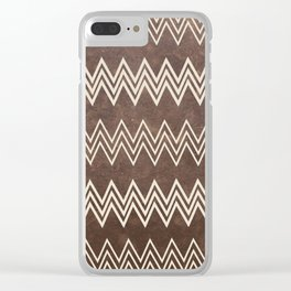 Vintage brown white rustic faux leather chevron Clear iPhone Case