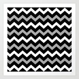 Black White & Grey Chevron Print Pattern Art Print