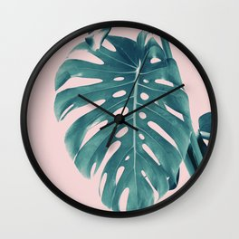 Monstera Delight #3 #tropical #decor #art #society6 Wall Clock