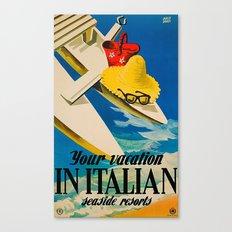 Vintage Italian Seaside Resorts Travel Ad Canvas Print
