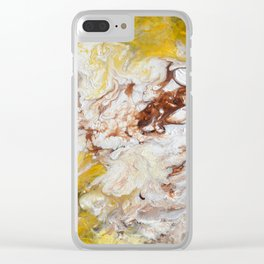 Brown, White and Yellow Abstract Art Clear iPhone Case