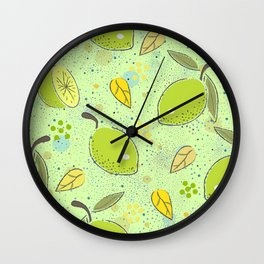 Seamless Pattern with green lime. Scandinavian Style Wall Clock