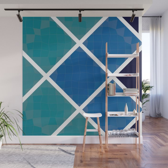 Green and blue squares Wall Mural