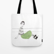 girl on the floor Tote Bag