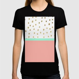 Coral teal color block faux gold foil polka dots pattern T-shirt