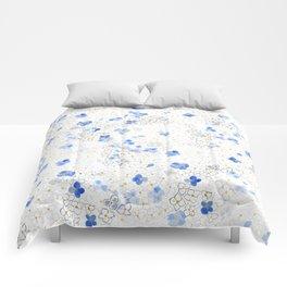 blue abstract hydrangea pattern Comforters
