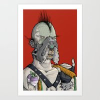 vegetarian Art Prints featuring Vegetarian the Destroyer! by David Comito