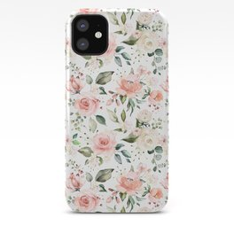 Sunny Floral Pastel Pink Watercolor Flower Pattern iPhone Case