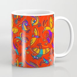 Pattern with Firebirds (on red background) Coffee Mug