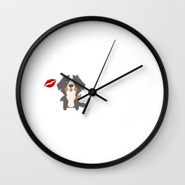 I Kissed A Bernese Mountain Dog And I Liked It Cute Dog Kiss Gift Idea Wall Clock