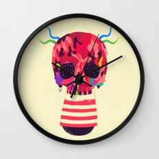 RED RED RED Cranium Wall Clock