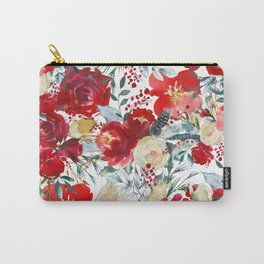 Red teal hand painted boho watercolor roses floral Carry-All Pouch