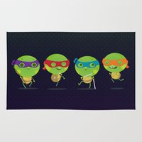 turtles Area & Throw Rugs featuring Turtles by Maria Jose Da Luz