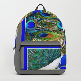 SITTING BLUE PEACOCKS FEATHER PATTERNS ART Backpack