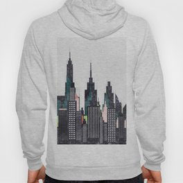 Colorful City Buildings And Skyscrapers Sketch, New York Skyline, Wall Art Poster Decor, New York Hoody