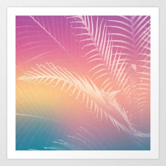 Gradient Tropical leaves Art Print
