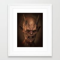 demon Framed Art Prints featuring Demon by Monster Faces Creature Prints