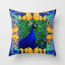 Decorative Blue Peacock & Yellow Butterflies Art Throw Pillow