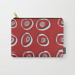 Squiggles and Dots Red - 3D Linework Carry-All Pouch