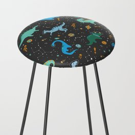 Dinosaurs in Space in Blue Counter Stool