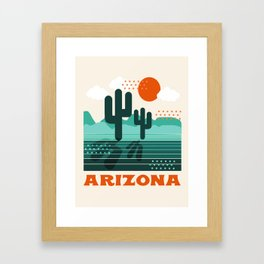 Arizona - retro 70s 1970's sun desert southwest usa throwback minimal design Framed Art Print