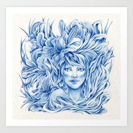 Dark Blue Elf Art Print