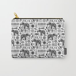 Africa Style Elephant Black And White Tribal Pattern Carry-All Pouch