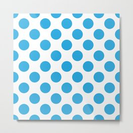Blue Large Polka Dots Pattern Metal Print