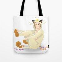 onesie Tote Bags featuring Remy + Meowth Onesie by wowcherrim