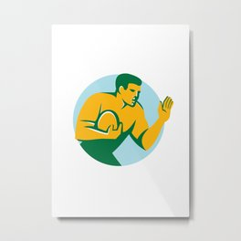 Rugby Player Fend Off Circle Retro Metal Print