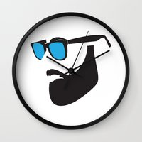 beard Wall Clocks featuring Beard by Paco Dozier